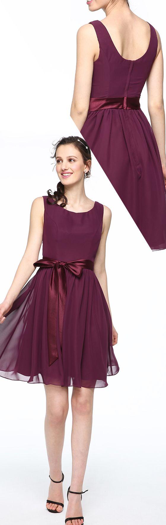 c1559382232 A-Line Scoop Neck Short   Mini Chiffon Satin Bridesmaid Dress with Bow(s)  Sash   Ribbon Pleats by LAN TING BRIDE®