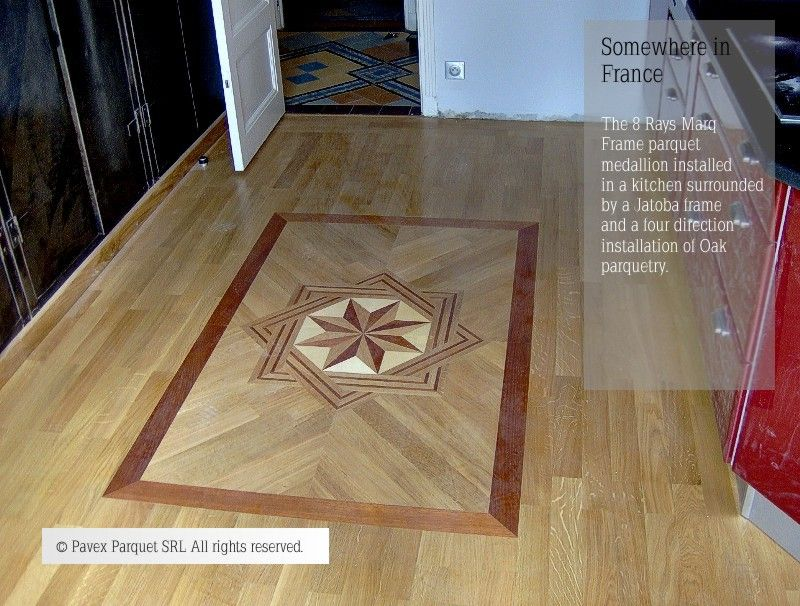 Hardwood Floor Medallion Inlay The 8 Rays Marquetry Frame Pattern Kitchen Installation Www Pavexparquet