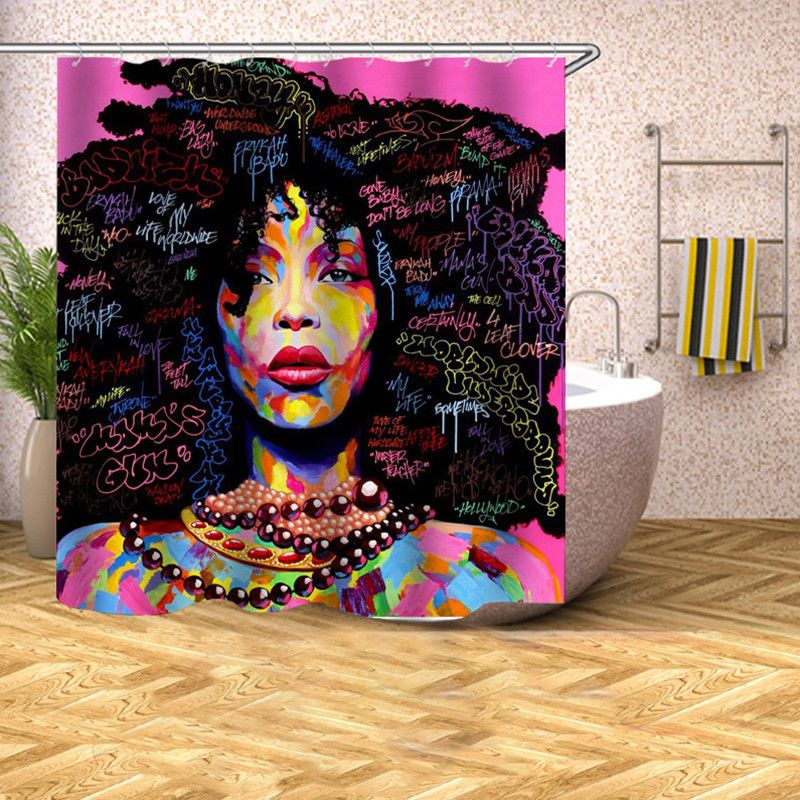 Afro African American Black Girl Shower Curtain Bathroom Decor Set