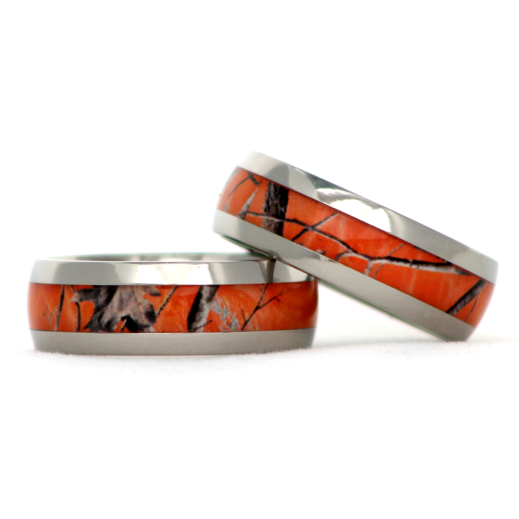 realtree blaze orange camo titanium ring - Orange Camo Wedding Rings