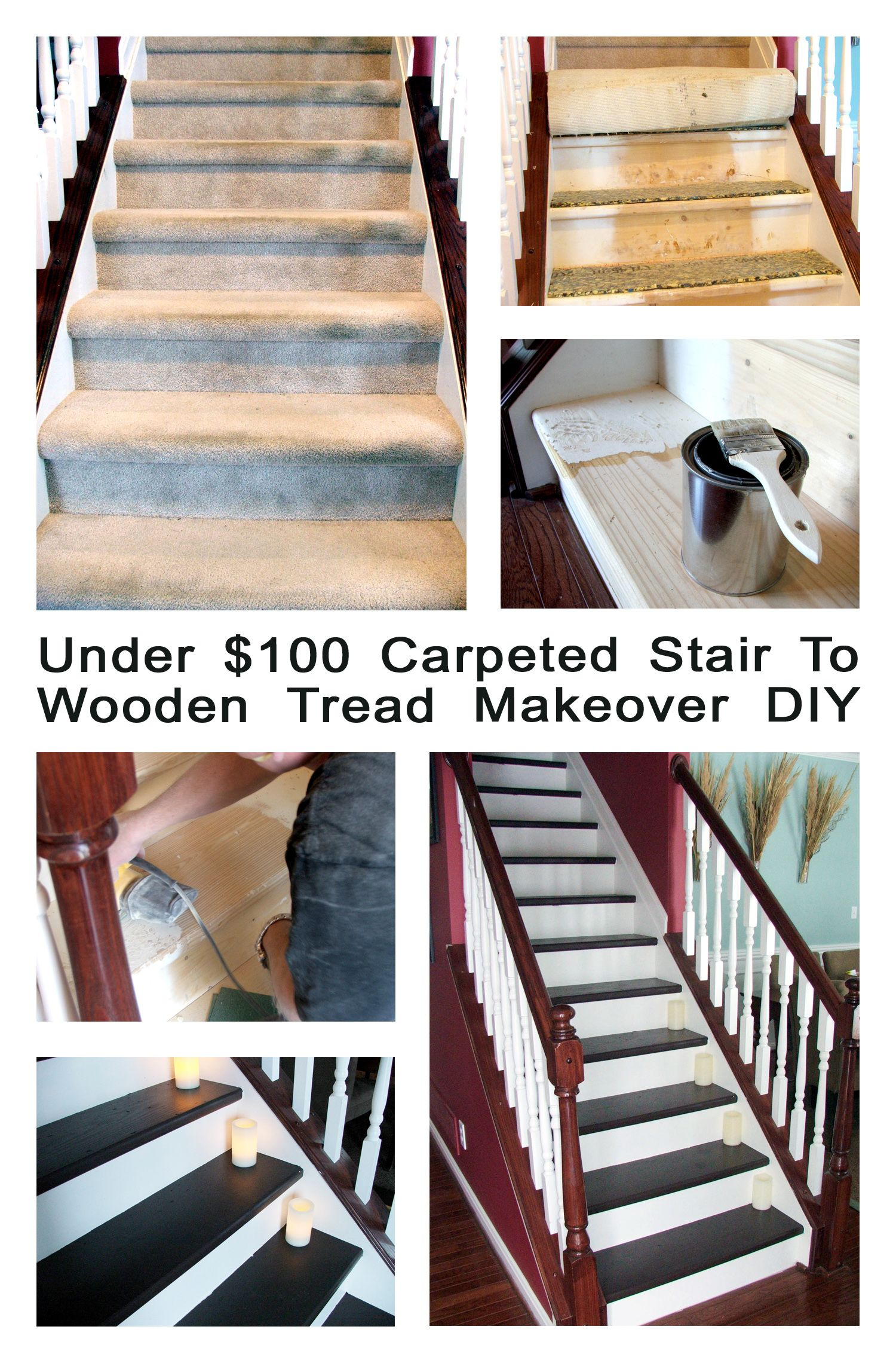 Remodelaholic Under 100 Carpeted Stair To Wooden Tread Makeover