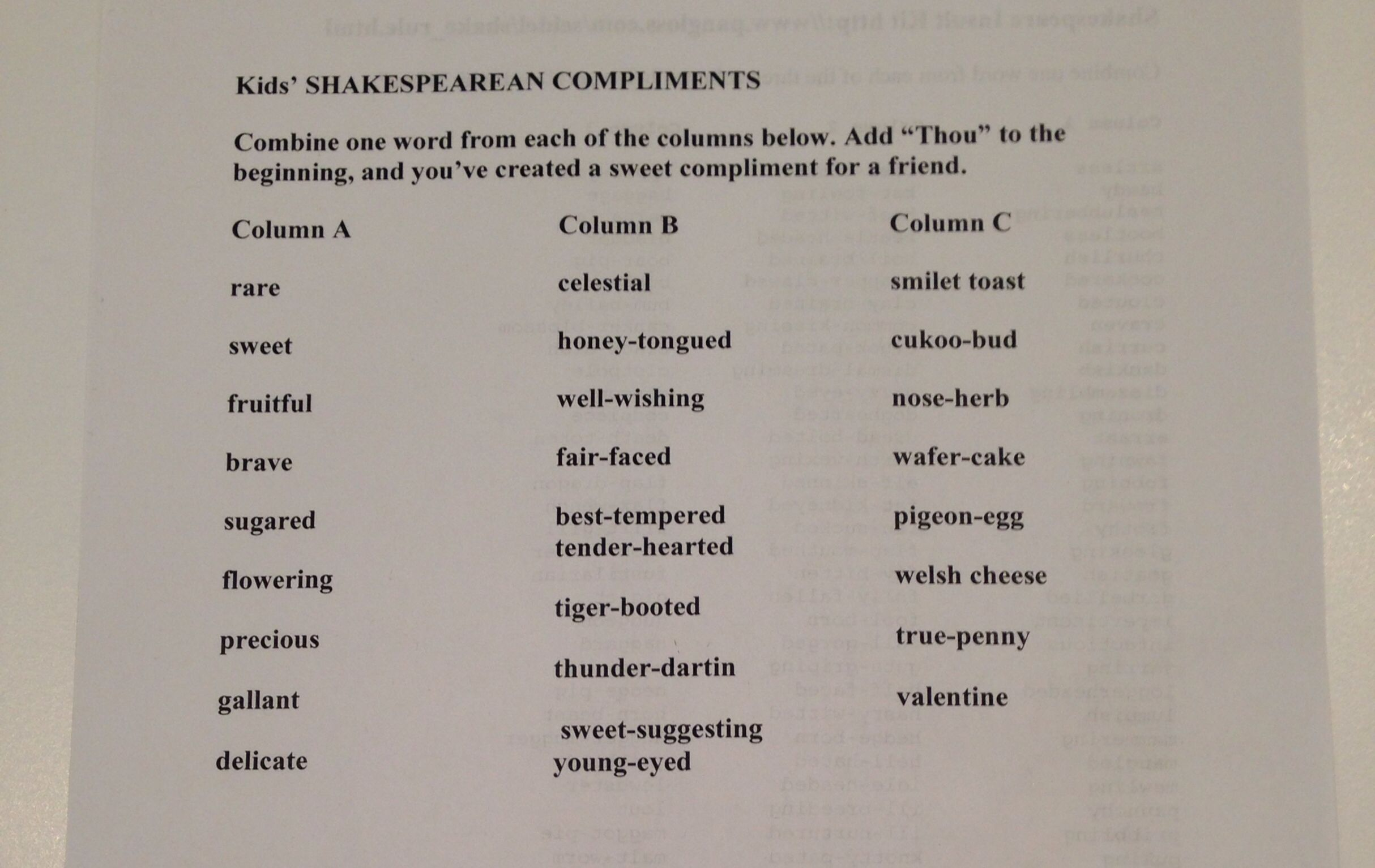 Shakespearean Compliments