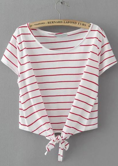Striped Knotted Wine Red T-shirt