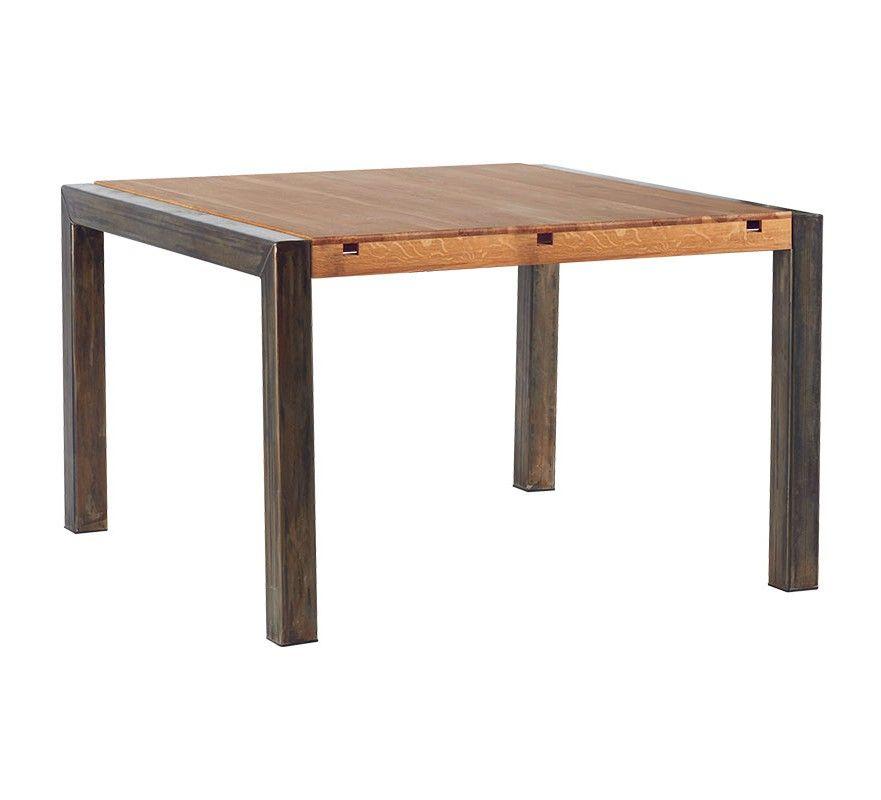 Table De Repas Carre Metal Et Chene Massif Manufacture Table Salle A Manger Table De Repas Carree Meuble House