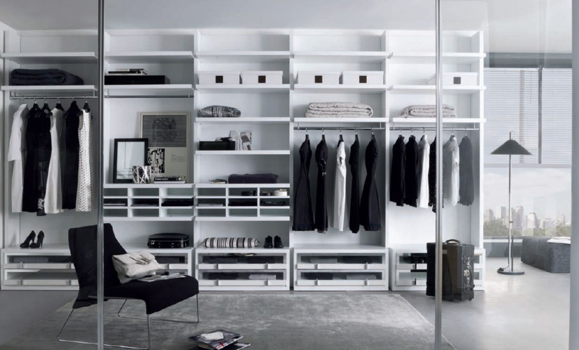 Charming White Walk In Closet Design Ideas With Open Clothes Shelves As  Well As Clothes Rod