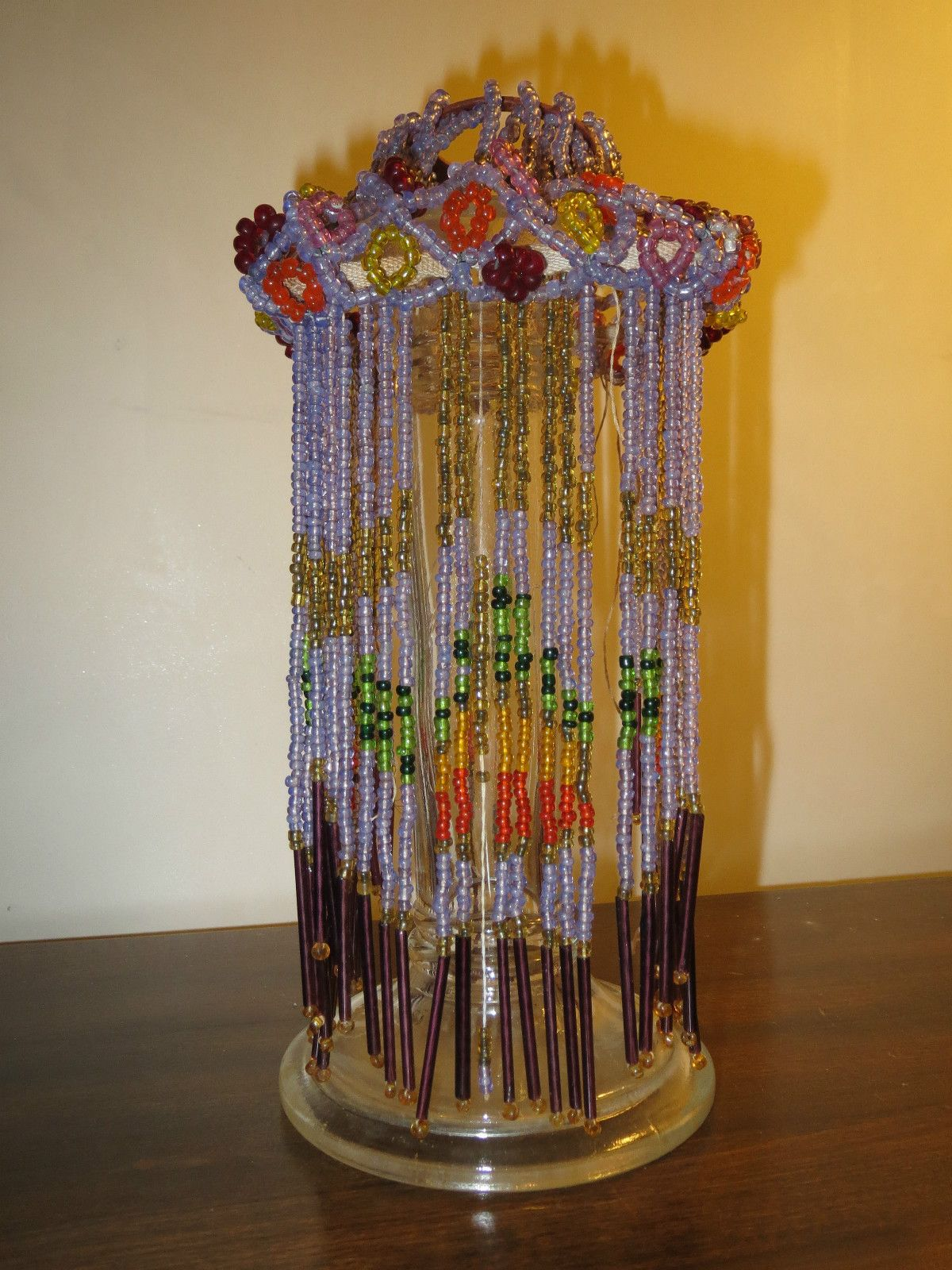 Antique Glass Seed Bead Light Sconce Lamp Shade Floral