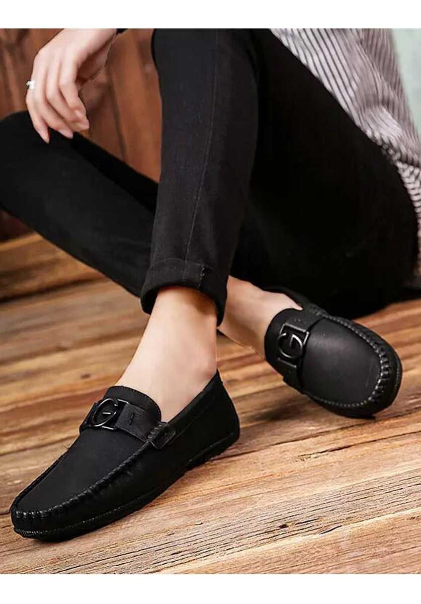 Black Leather Slip On Shoe Loafer With G Buckle Dress Shoes Men Mens Black Dress Shoes Slip On Shoes [ 1200 x 837 Pixel ]