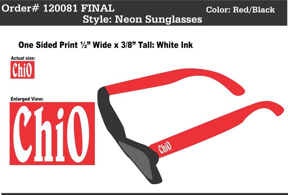 Chi Omega Sunglasses! Get ready for Spring Break!