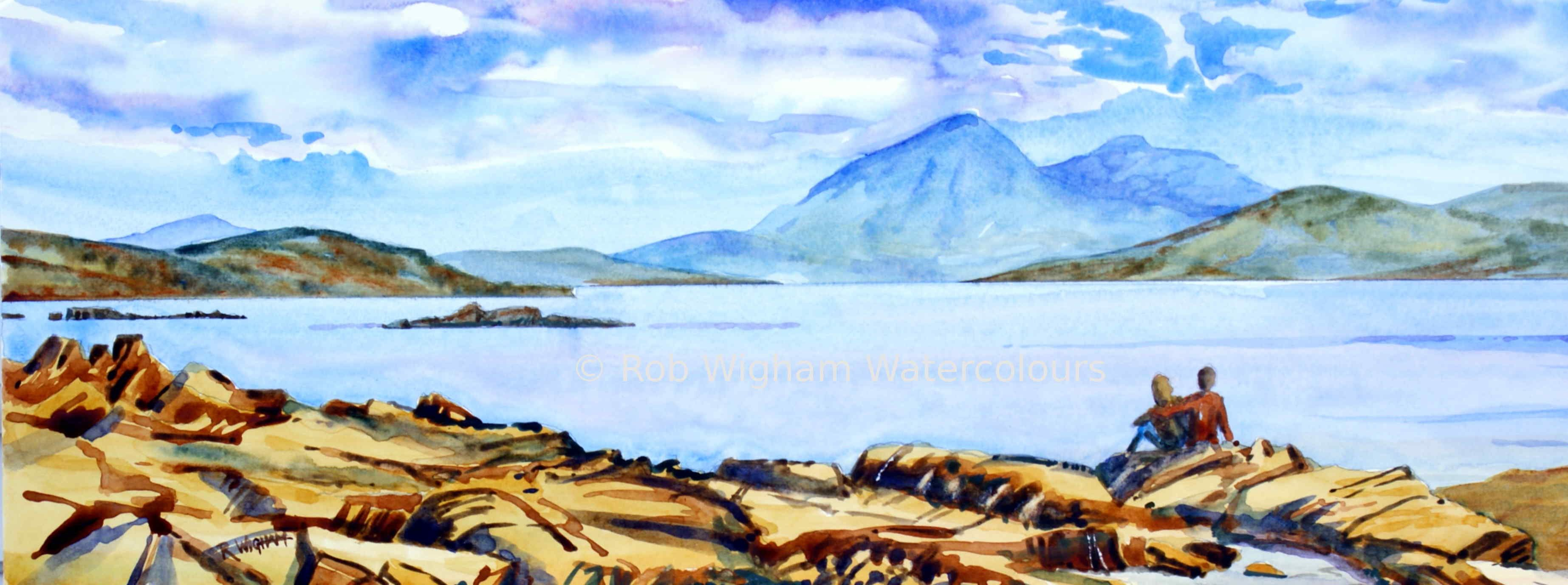 The Cuillin From The Applecross Peninsula Watercolour On