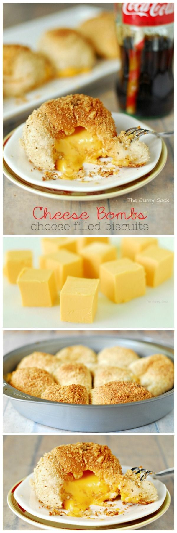 Cheese Bombs are cheese filled biscuits with a delicious, crunchy coating and warm, melted cheese on the inside!