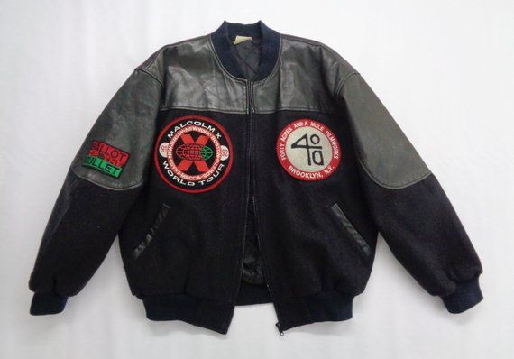cd957017e599 Malcolm X Jacket Vintage 90 s Malcolm X World Tour Jacket Vintage Malcom X  Movie Spike Lee 40 Acres and a Mule Varsity Jacket Hip Hop RARE!!