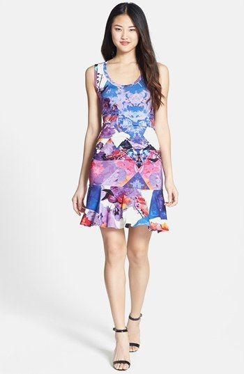 Nicole Miller 'Blue Eden' Tidal Pleat Print Ruffle Hem Jersey Dress available at #Nordstrom