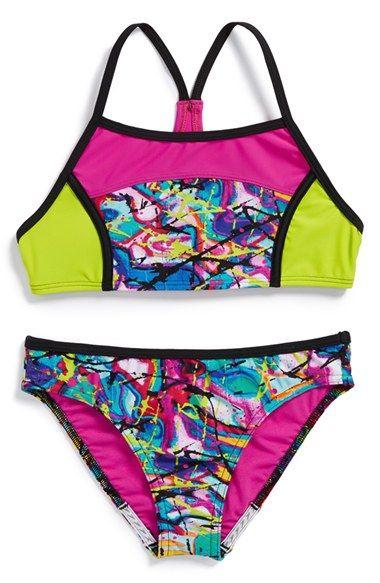 d784495e3 Speedo®  Freestyle Graffiti  Two-Piece Swimsuit (Big Girls) Trajes De