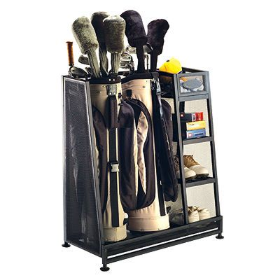 Suncast Golf Organizer  This fashionable Golf Organizer is designed to hold 2 golf bags and is spacious enough to store all necessary golf accessories. Angled construction makes this item easy to fit into tight corners in most basements or garages.