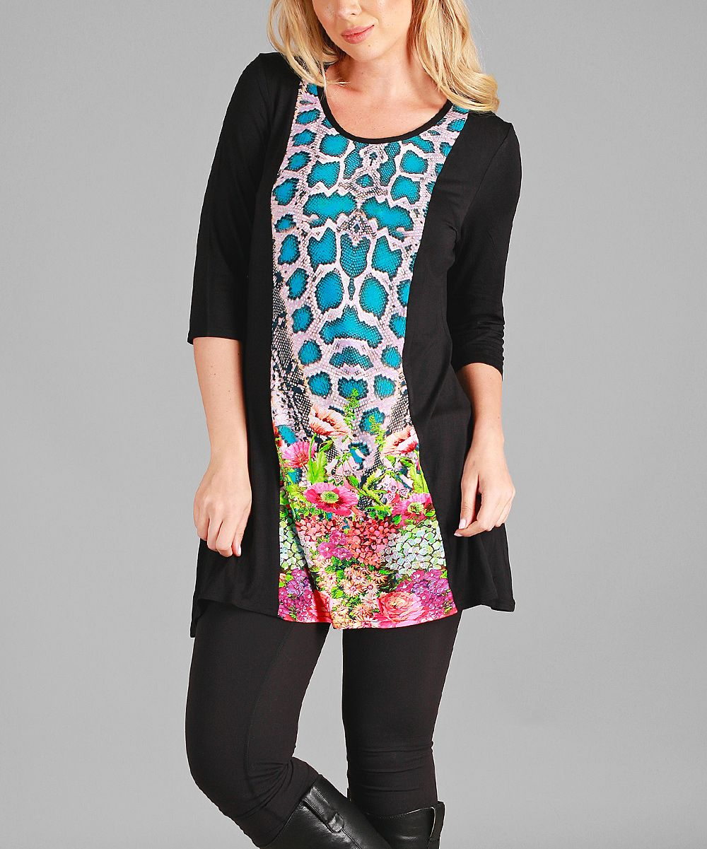 Black & Blue Floral Three-Quarter Sleeve Tunic - Plus Too