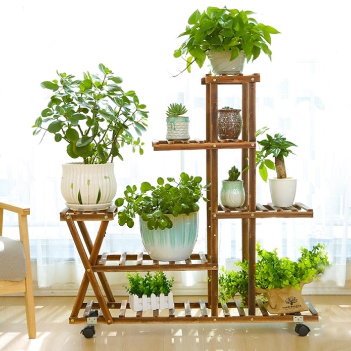 4 Layer Wooden Plant Flower Pot Stand Shelf Indoor Outdoor Garden Planter Fir Wood With Wheels Without Guardrail 37 Inch Walmart Com In 2020 Large Plant Pots Plant Stand Indoor Plant Stand