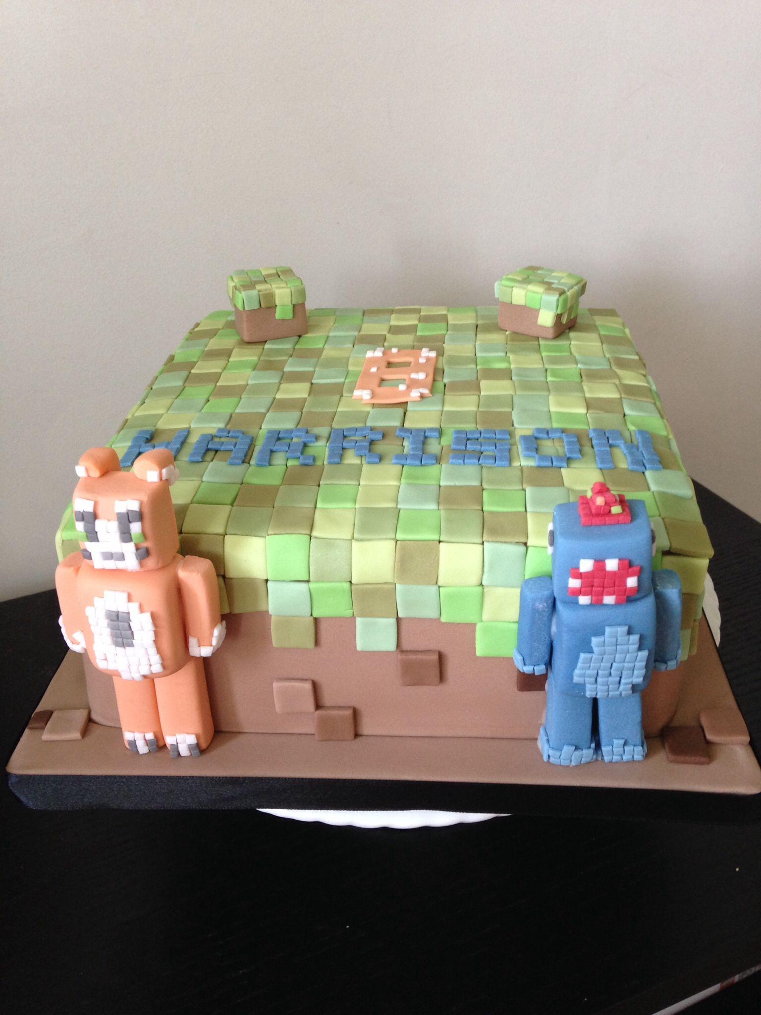Minecraft Birthday Cake With Stampylongnose And Ballistic Squid