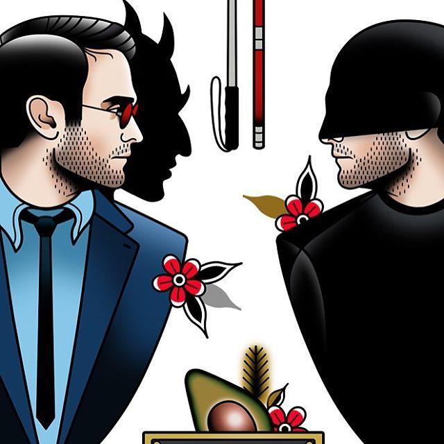 One Of My Favorite Marvel Hero Coming Soon Daredevil Marvel Comics Netflix Derickjames Tattoo Tattoos Hero Tattoo Marvel Tattoos Cartoon Tattoos