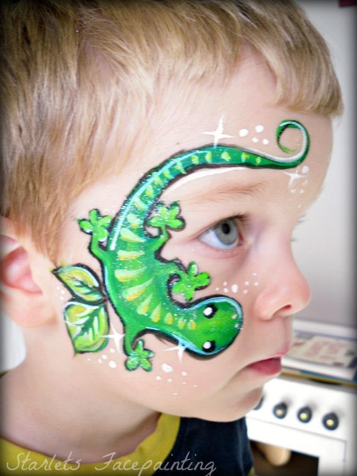 Gecko Face Paint : gecko, paint, Gecko!, Kinderschminken,, Kinder, Schminken,, Schminkgesichter