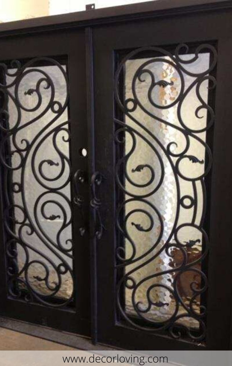 25 Double Enterance Iron Door In Unique Style In 2020 Iron Doors Steel Doors Front Door Design
