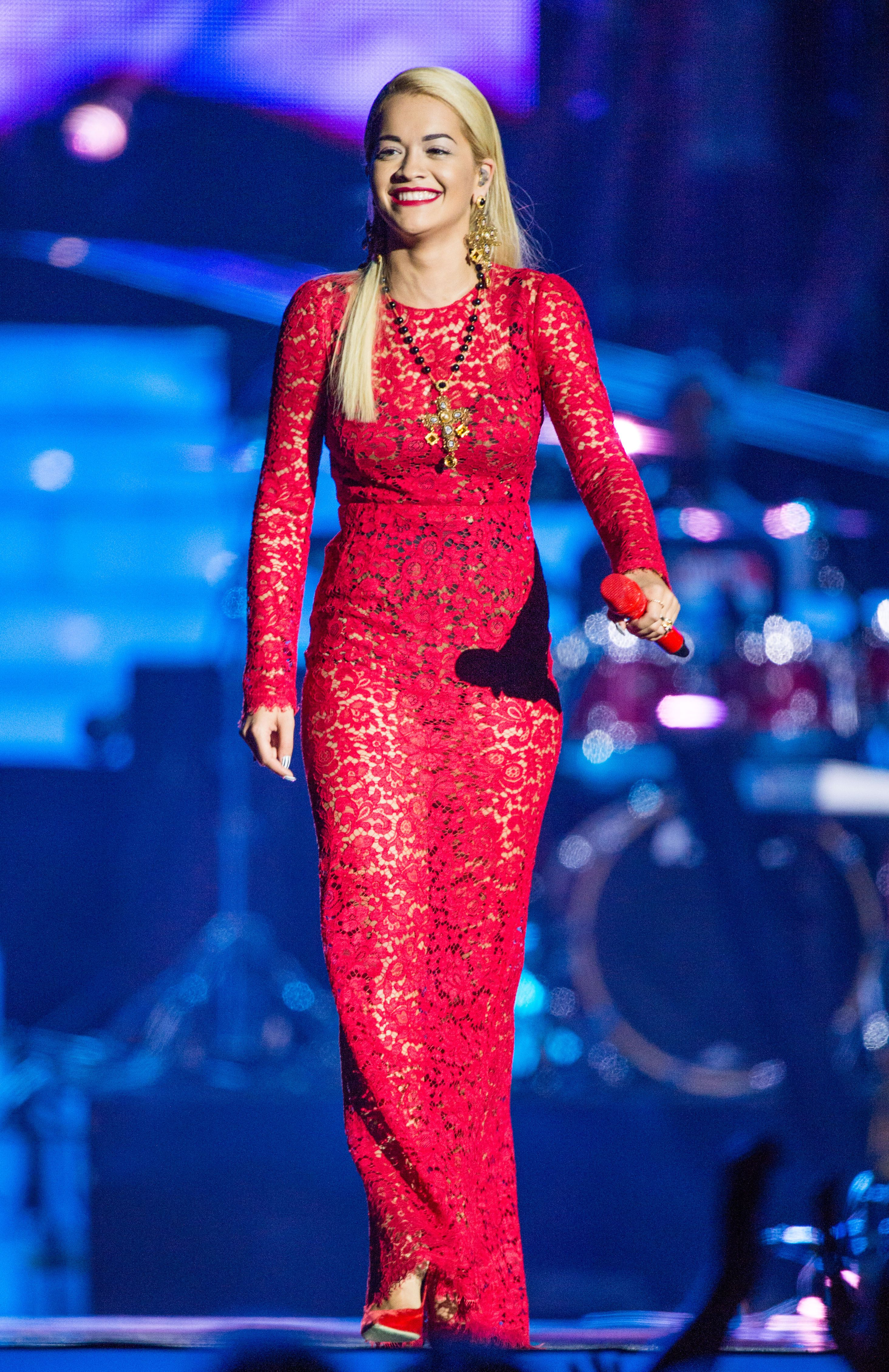 Rita Ora wearing Dolce&Gabbana while performing at 'Unity: A Concert For Stephen Lawrence' in aid of The Stephen Lawrence Charitable Trust at the O2 Arena in London on September 29, 2013