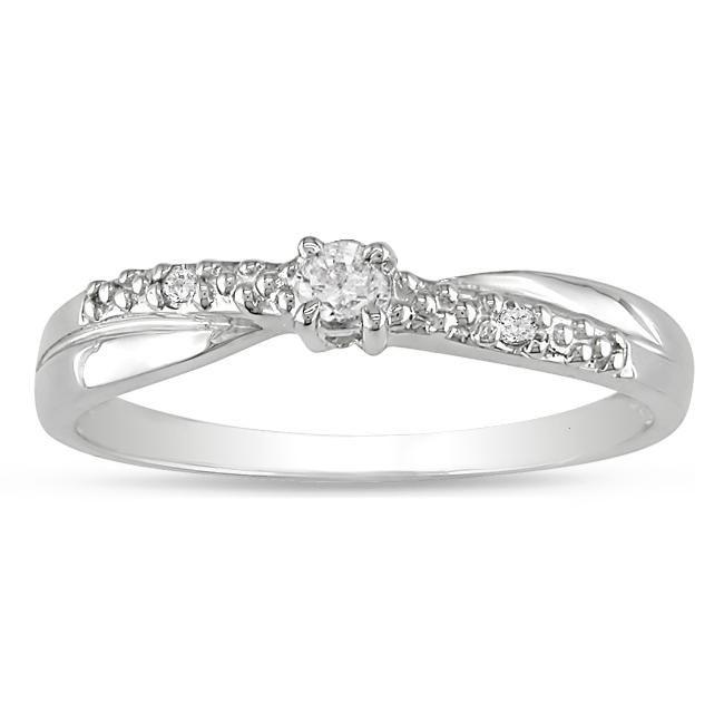 10k White Gold Diamond Accent Promise Ring (Size 11) | Brillanti ...