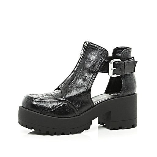 Black patent croc chunky cut out boots #riverisland