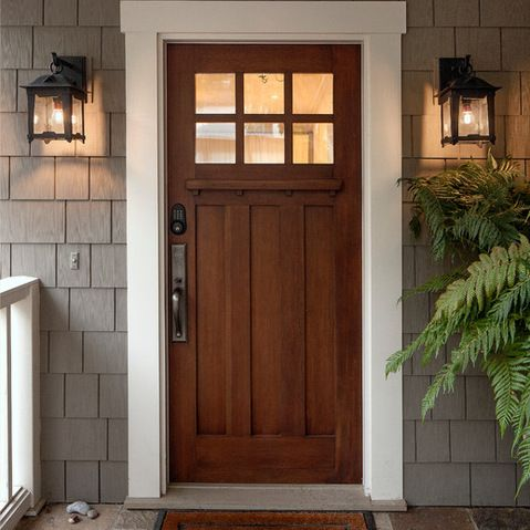 Beautiful Oak Exterior Front Door With Gray House And White Trim, Lighting Hardware  Black | Outside House Paint | Pinterest | Exterior Front Doors, Grey Houses  And ...