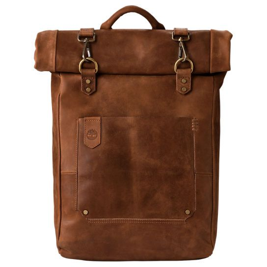 Walnut Hill 24-Liter Water-Resistant Roll-Top Leather Backpack ...