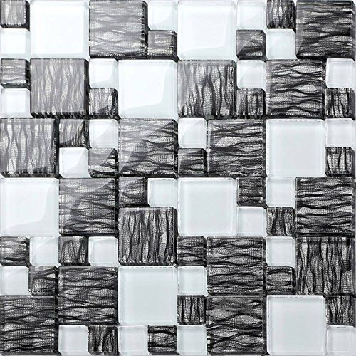 30x30cm Black Waves With Silver Backing & White Modular Mix Mosaic Tiles Sheet (MT0077)