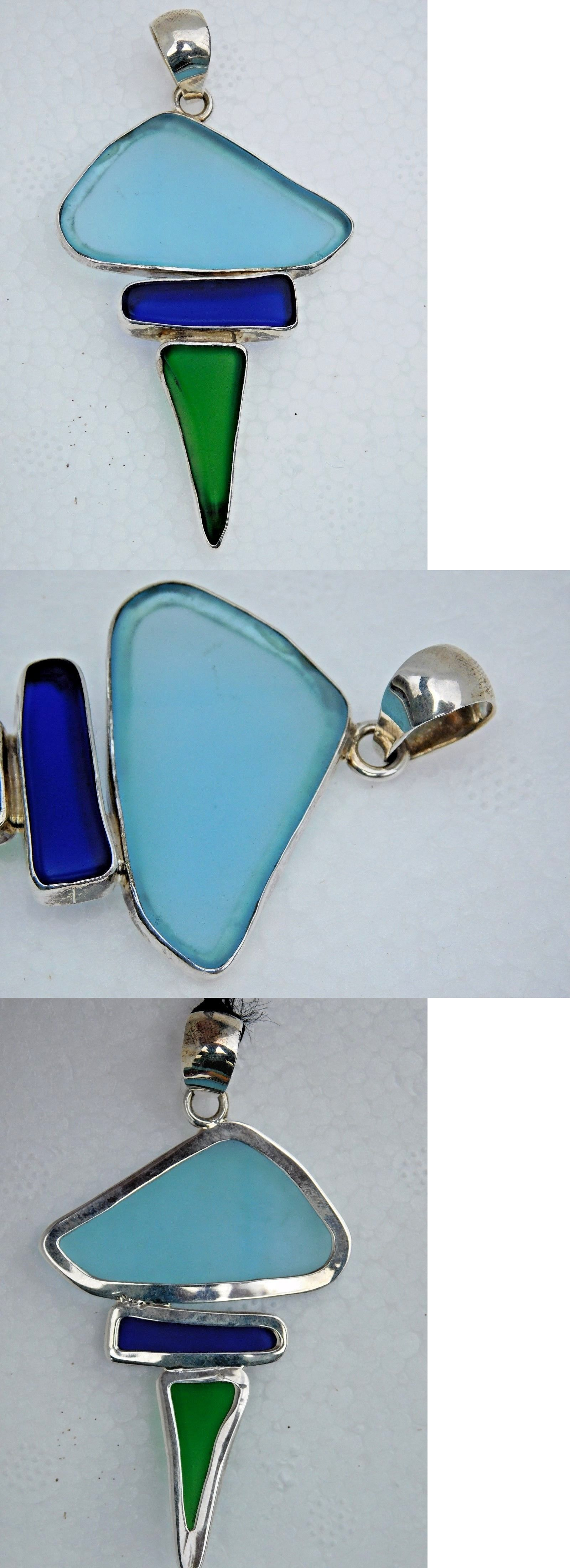 Necklaces and Pendants 110655: Handcrafted Multi Color Sea Glass And Sterling Silver Pendant -> BUY IT NOW ONLY: $99 on eBay!