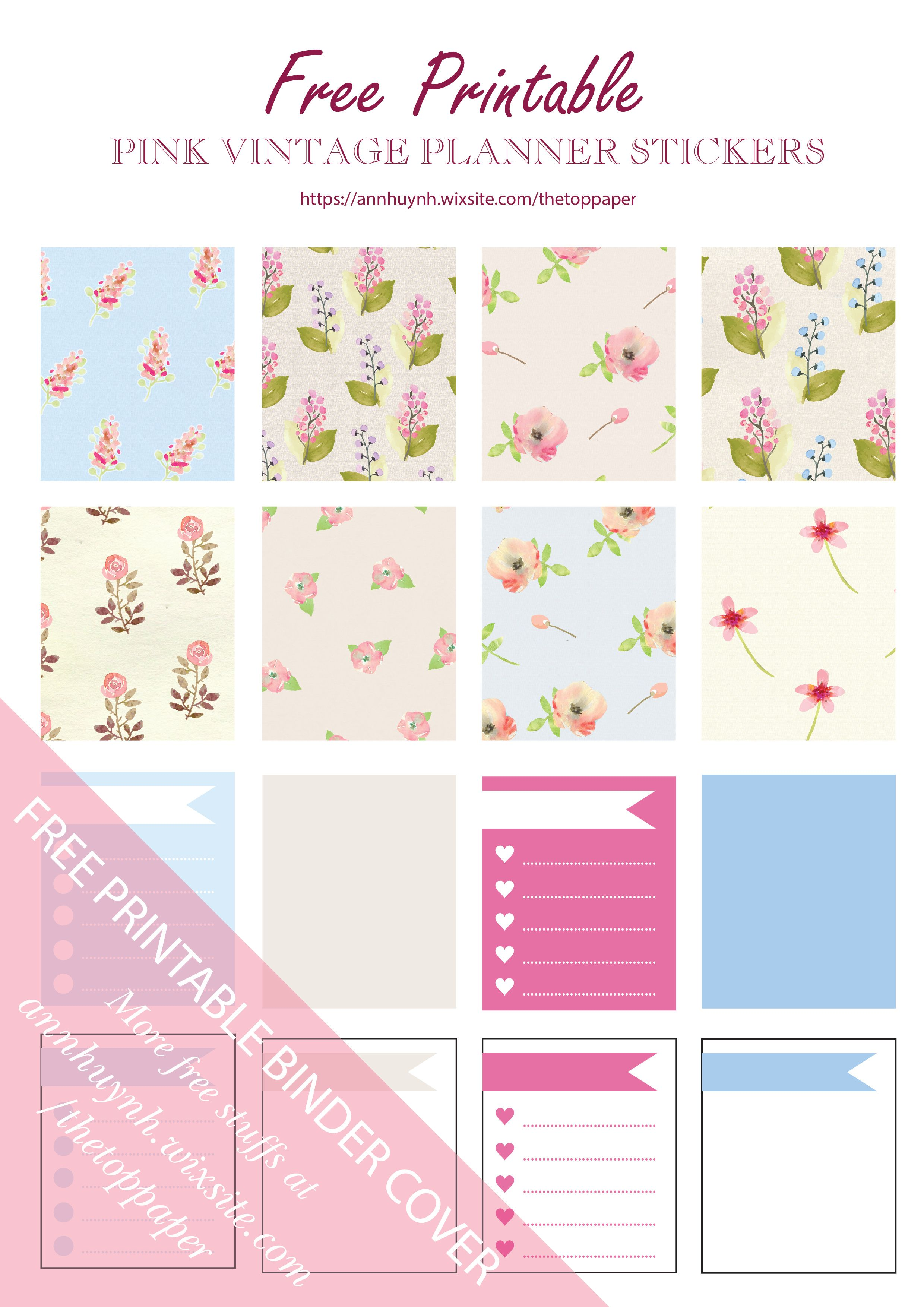 free printable pink vintage planner stickers from the top paper bujo pinterest loisirs. Black Bedroom Furniture Sets. Home Design Ideas