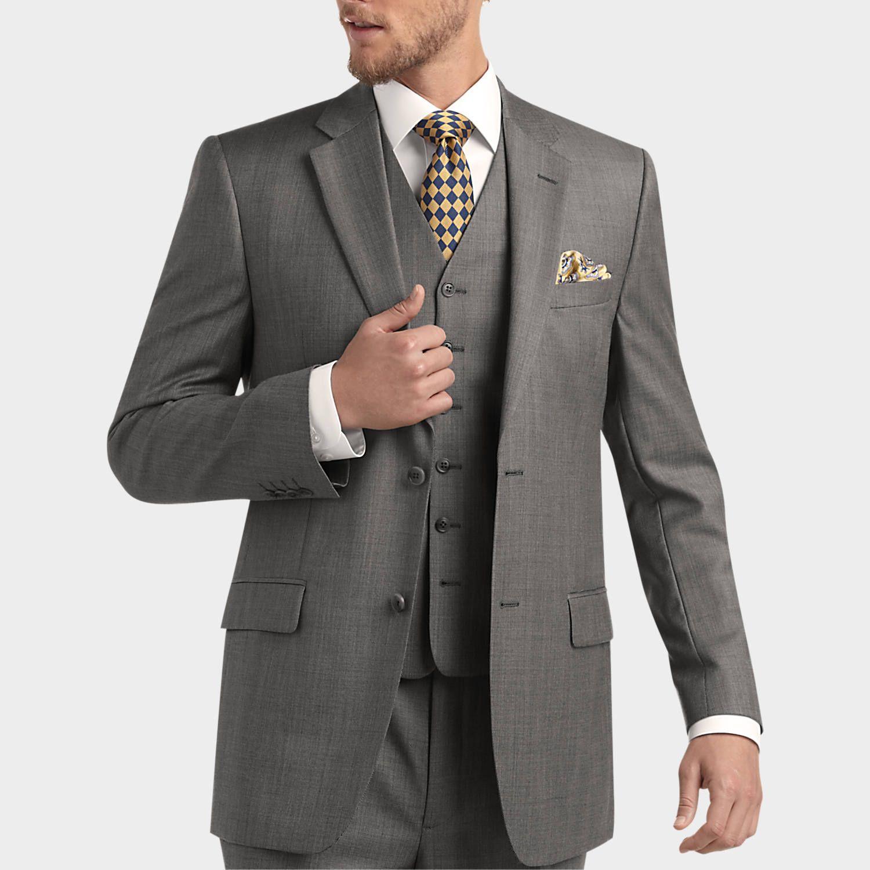 Joseph & Feiss Gold Vested Suit, Gray Sharkskin | Mens ...