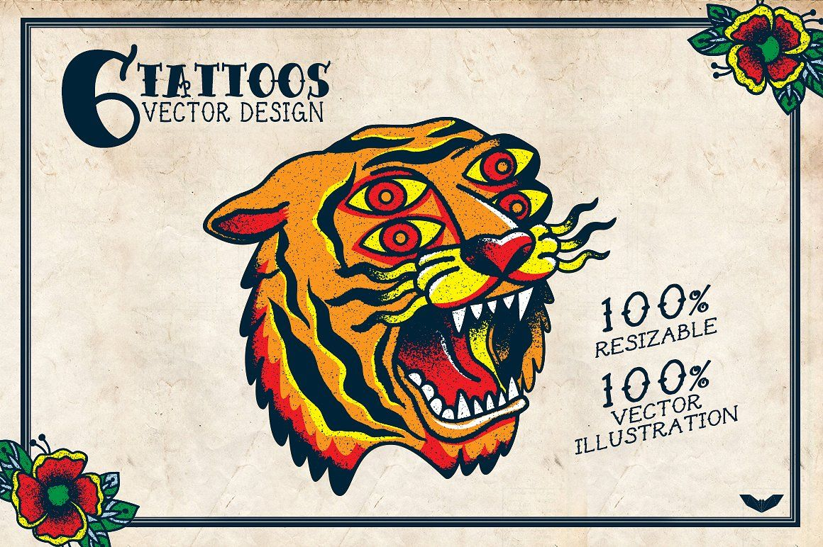 6 Vector Tattoos Design Стиль