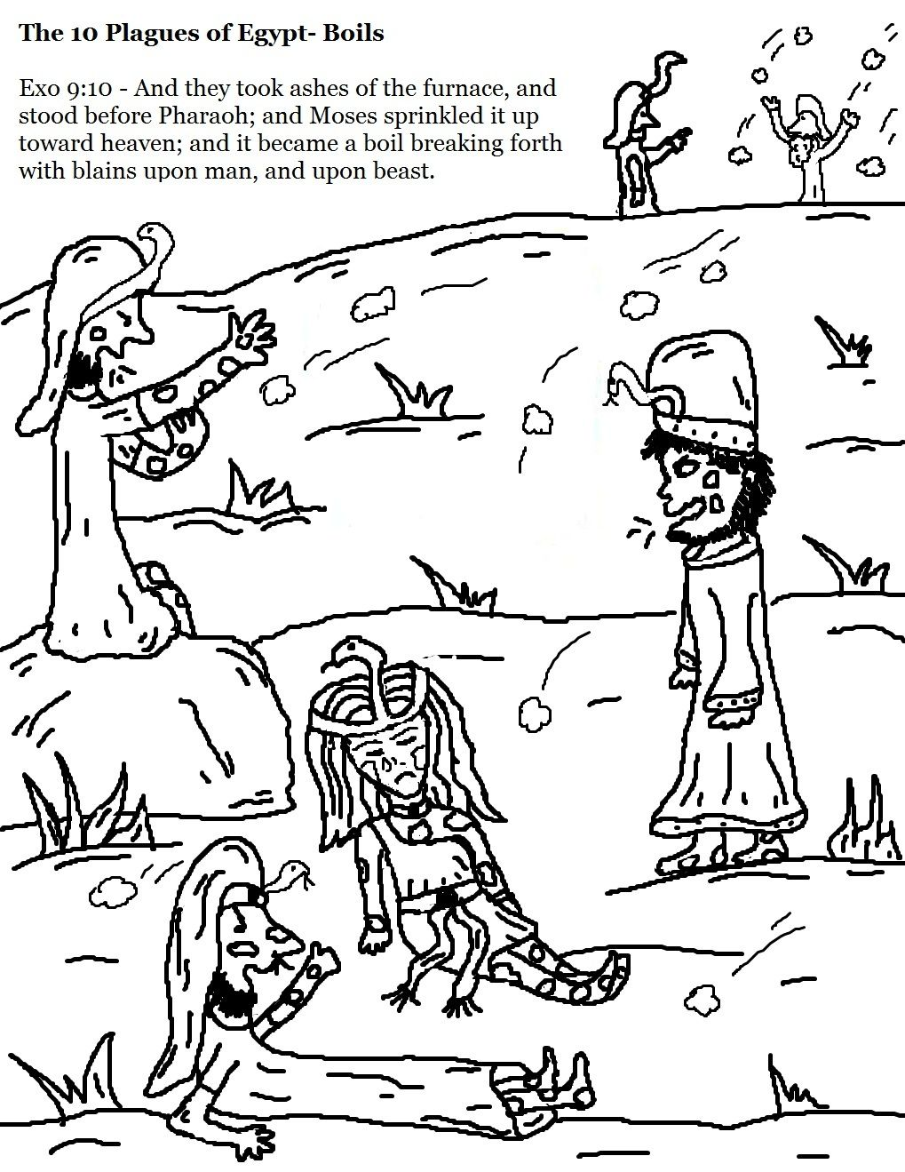Coloring pages moses and ten commandments - The 10 Plagues Of Egypt Boils Coloring Pages Jpg 1019 1319