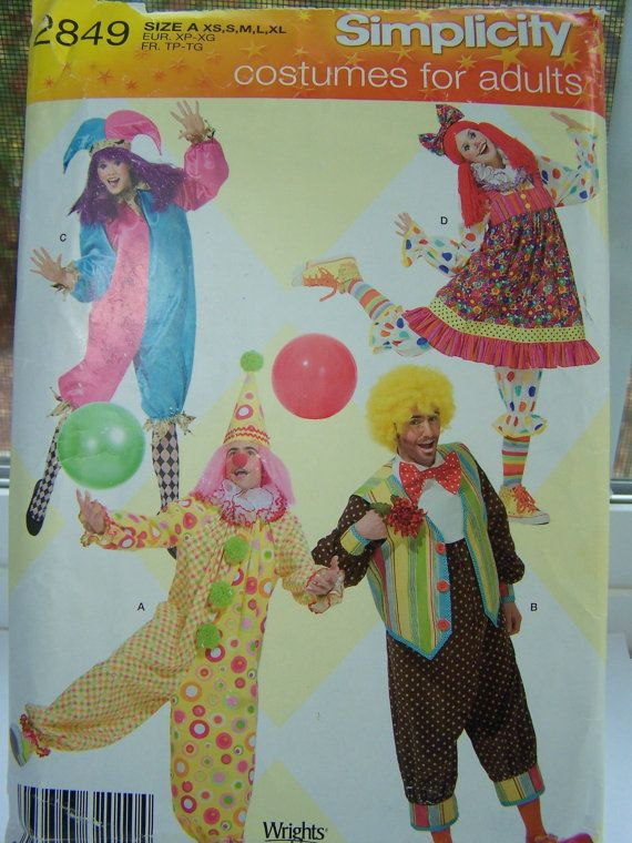Simplicity Adult Clown Costume Sewing Pattern by WitsEndDesign