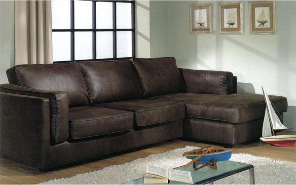 Canapé d angle contemporain en PVC marron GOSTA Canapé d angle