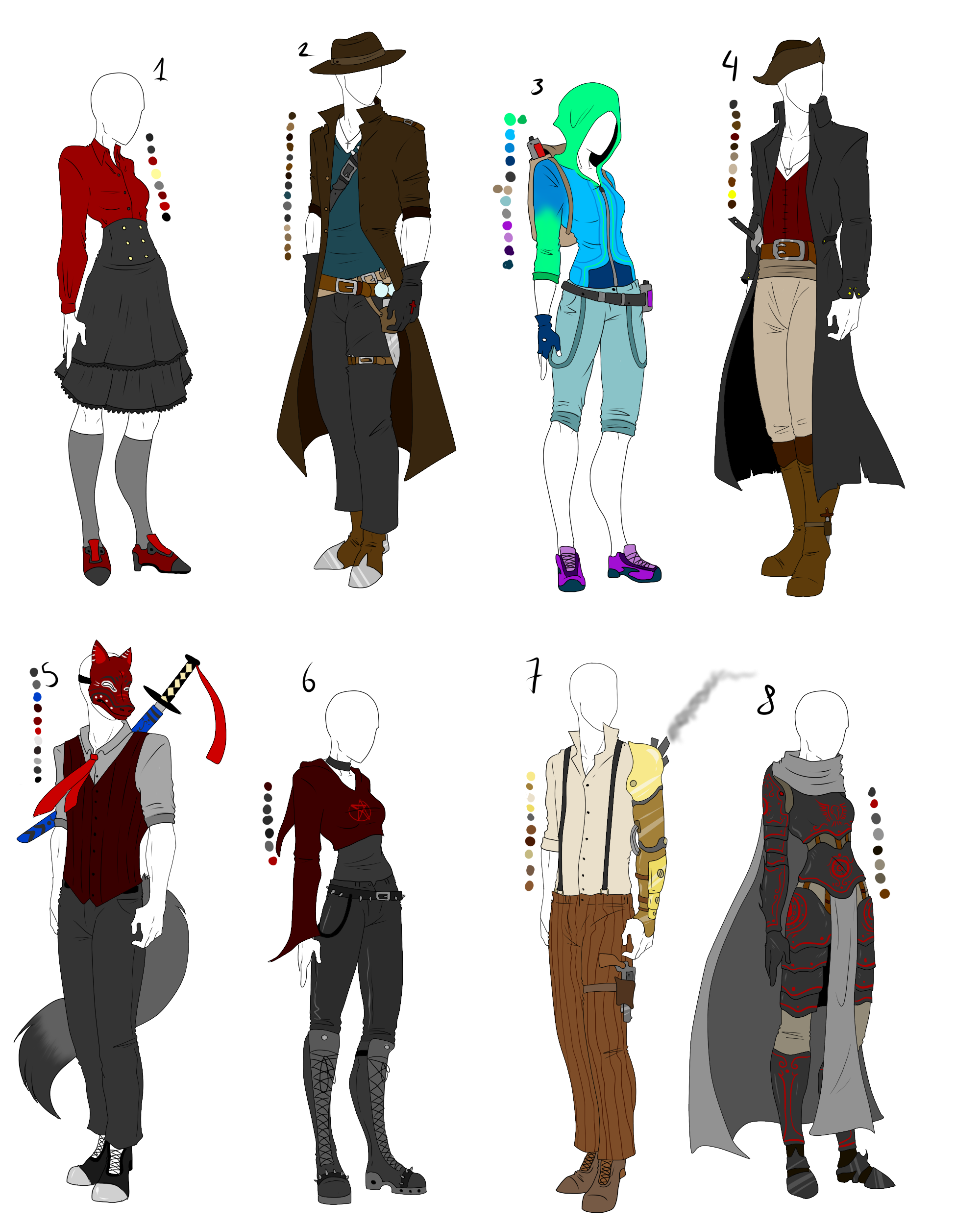Mega Outfit Adopt Pack Sold Out By Shadowinkadopts Deviantart Com On Deviantart Anime Outfits Fantasy Clothing Art Clothes