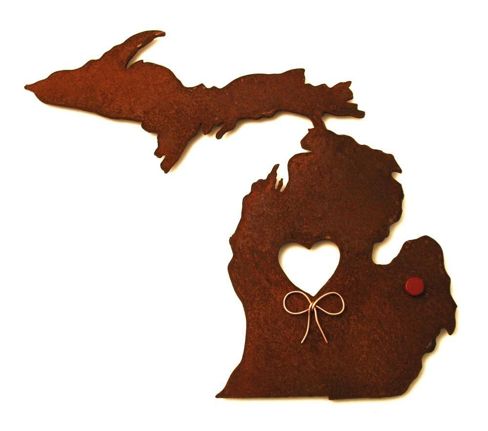 Map Michigan State%0A Michigan State Map Metal Wall Art Sculpture  State Sculpture  State  Silhouette  State Decor