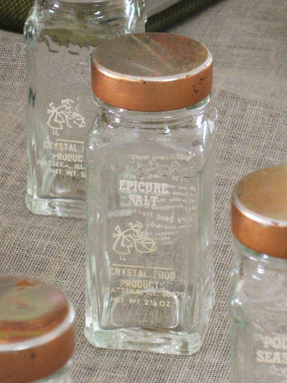 Vintage Spice Bottles 6 pcs