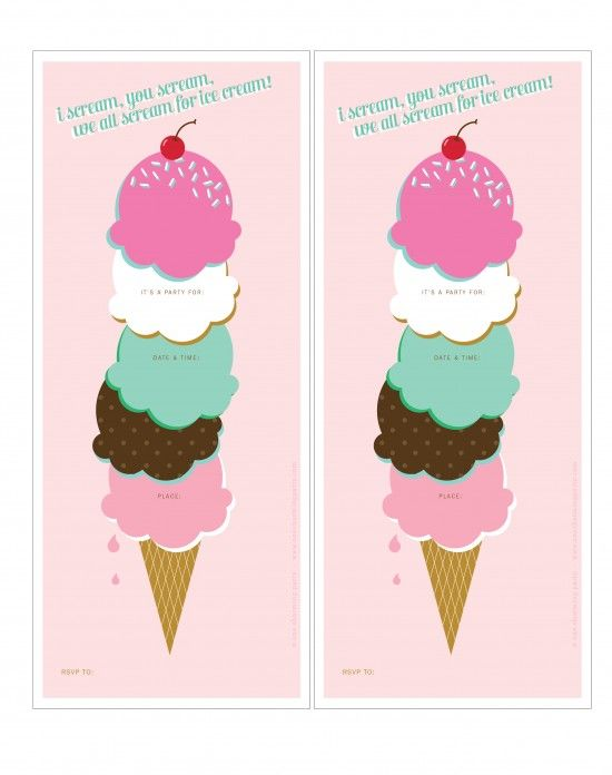 Ice cream party - free printable invites and thank you, plus more ...