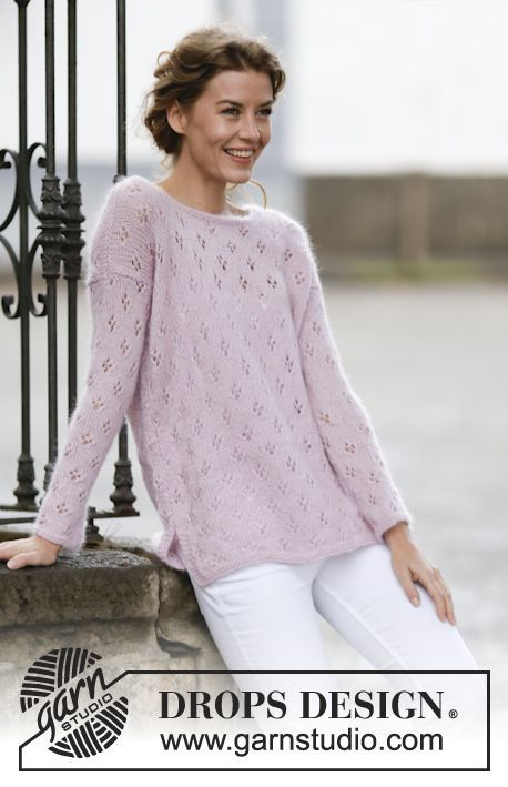 """Knitted DROPS jumper with lace pattern and vent in """"Alpaca"""" and """"Kid ..."""