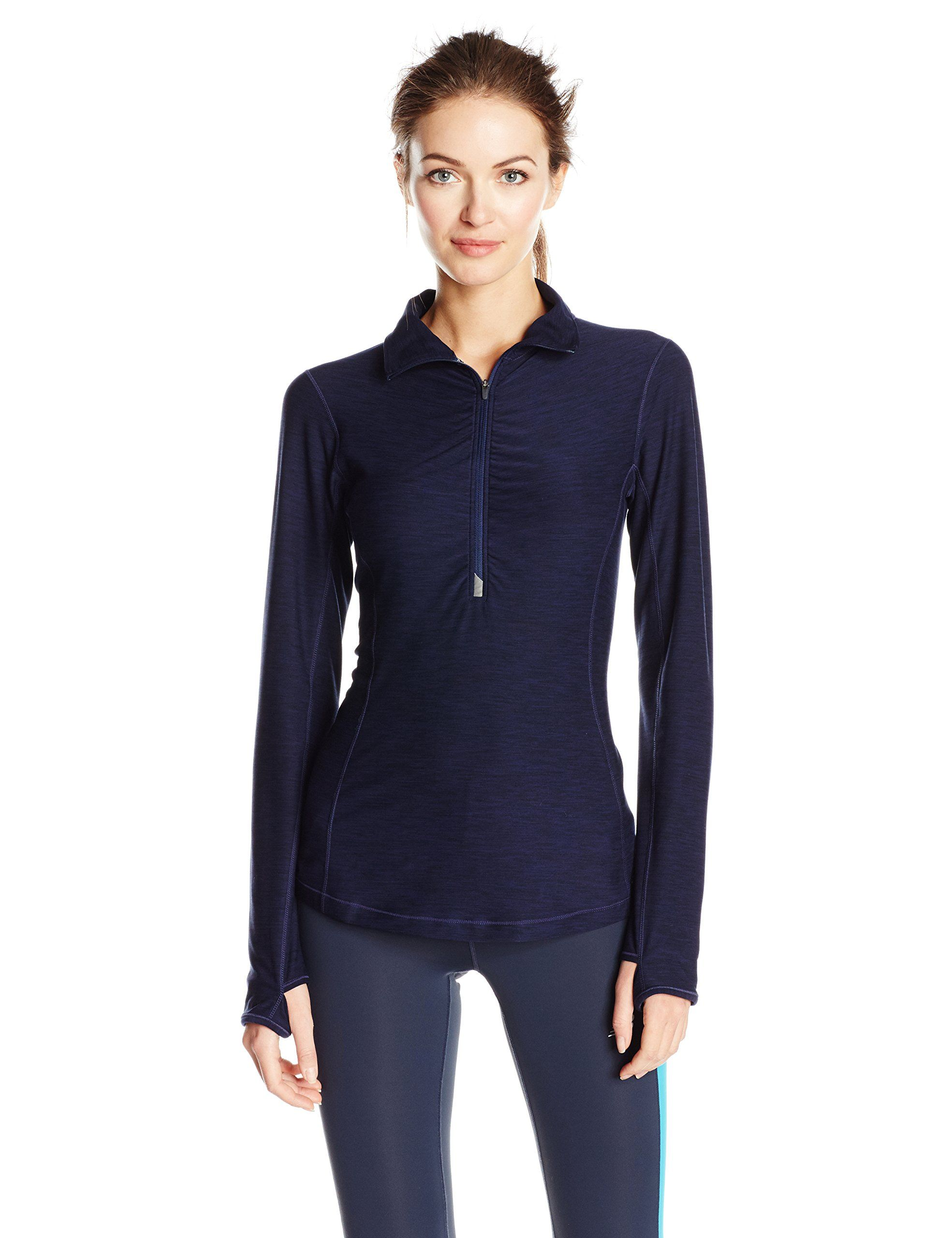 16d354e7b070a New Balance Womens in Transit Half Zip, Pigment Heather, X-Large. Reflective