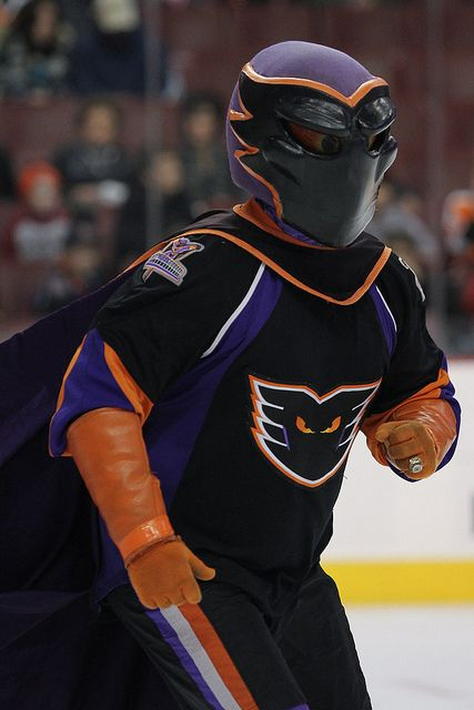 Adirondack Phantoms's mascot Phlex come out of retirement on January 21, 2011 at the Wells Fargo Center in Philadelphia, PA. The Phantoms defeated the Penguins 4-2.  (Inside Hockey/Bob Fina)  IMG_0036332.JPG