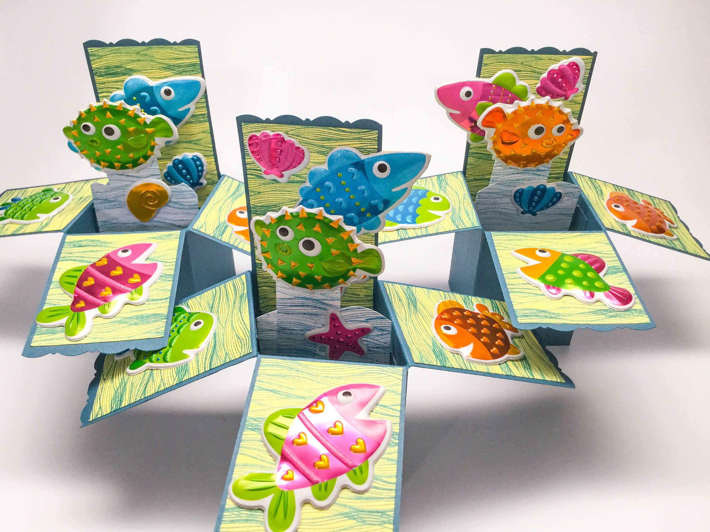 Finding nemo handmade cards pop up box card fish card kids