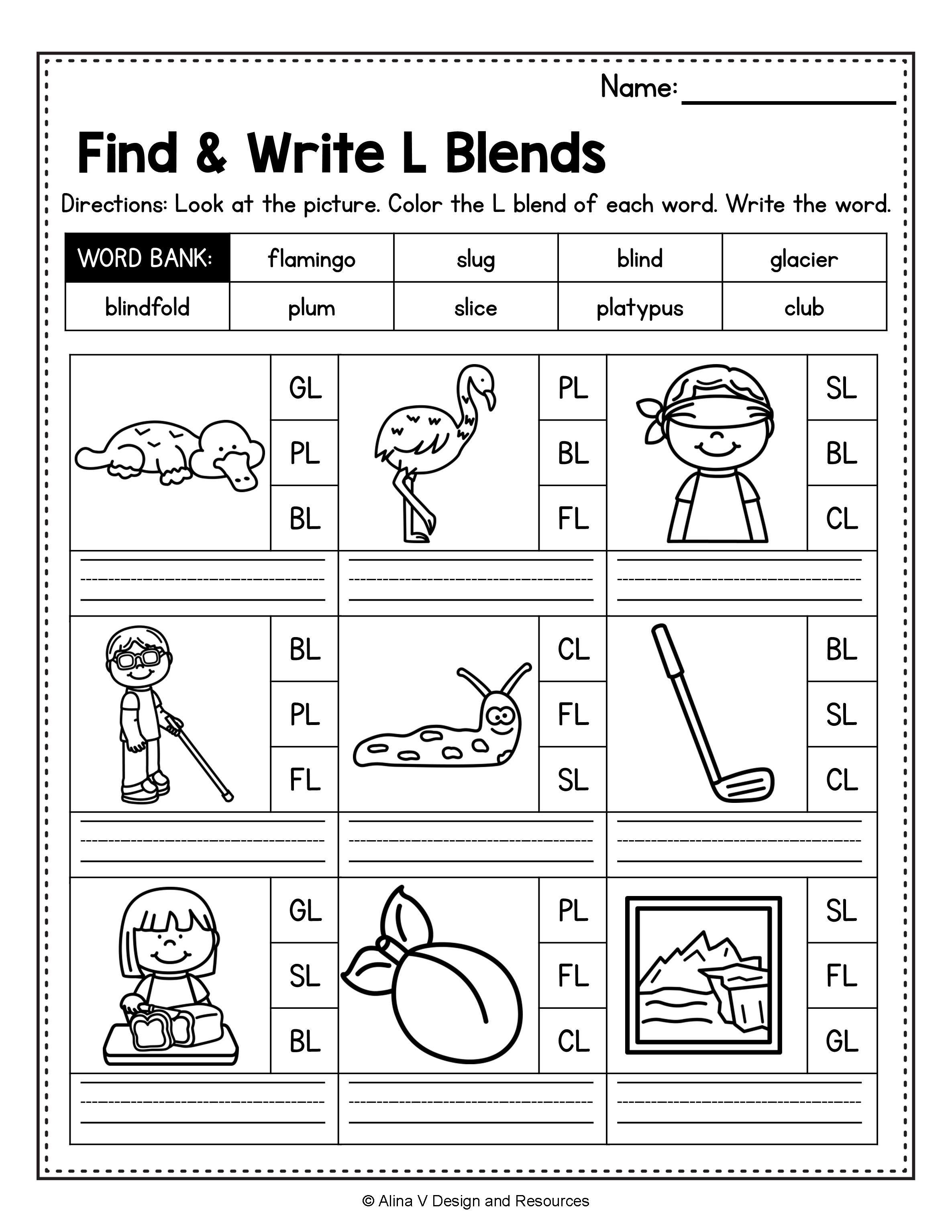 medium resolution of Beginning Blends Worksheets BUNDLE - consonant blends   Blends worksheets
