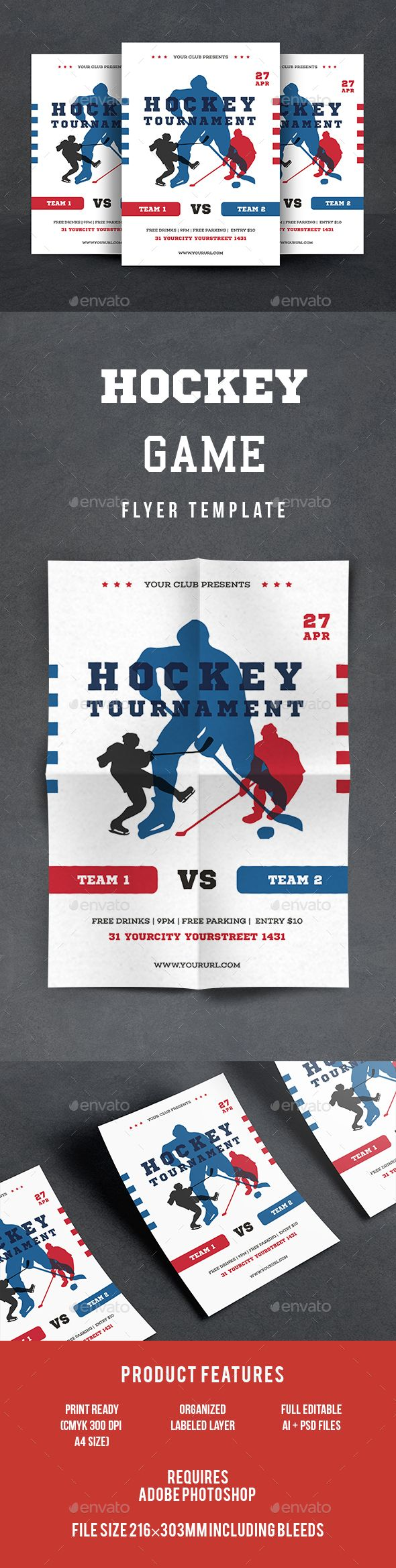 Hockey Flyer | Hockey, Flyer template and Ai illustrator