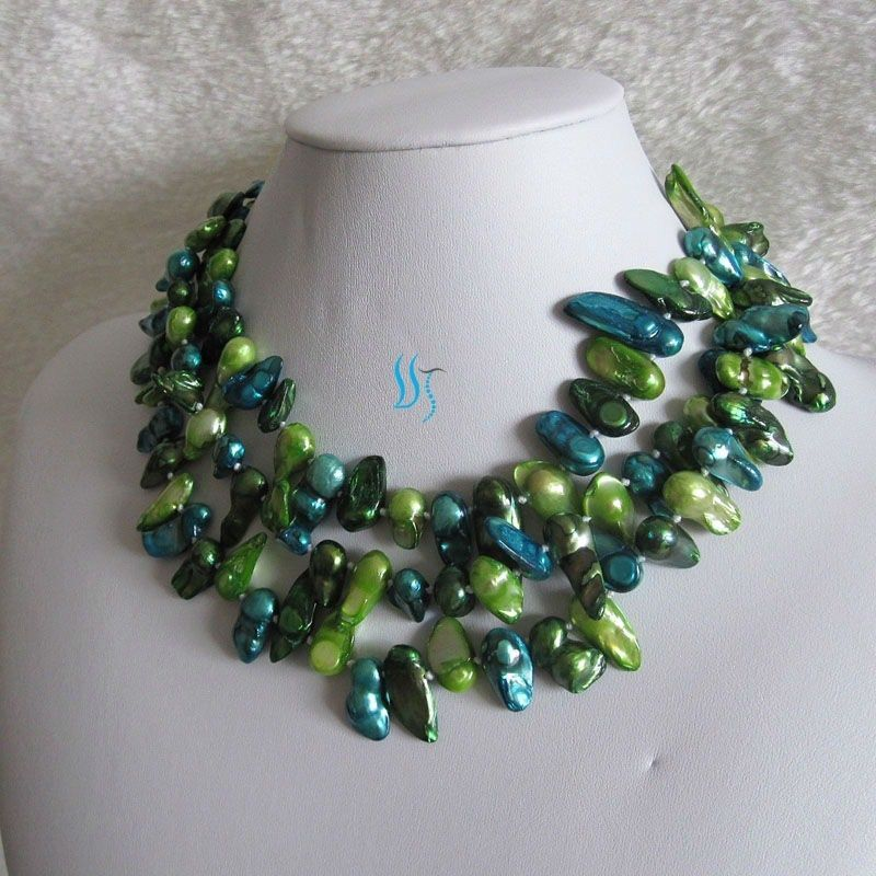 """49"""" 7-8mm Freshwater Mother Of Pearl Necklace Baroque Multi Color Strands #PearlZone #StrandString"""