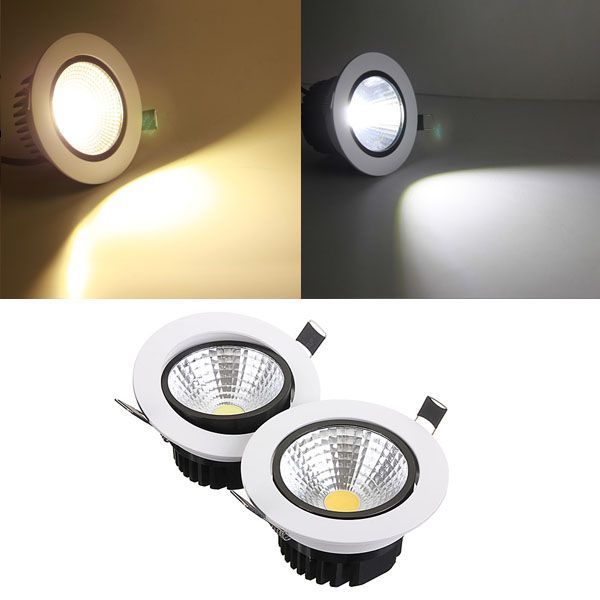 12w non dimmable cob led recessed ceiling light fixture down light