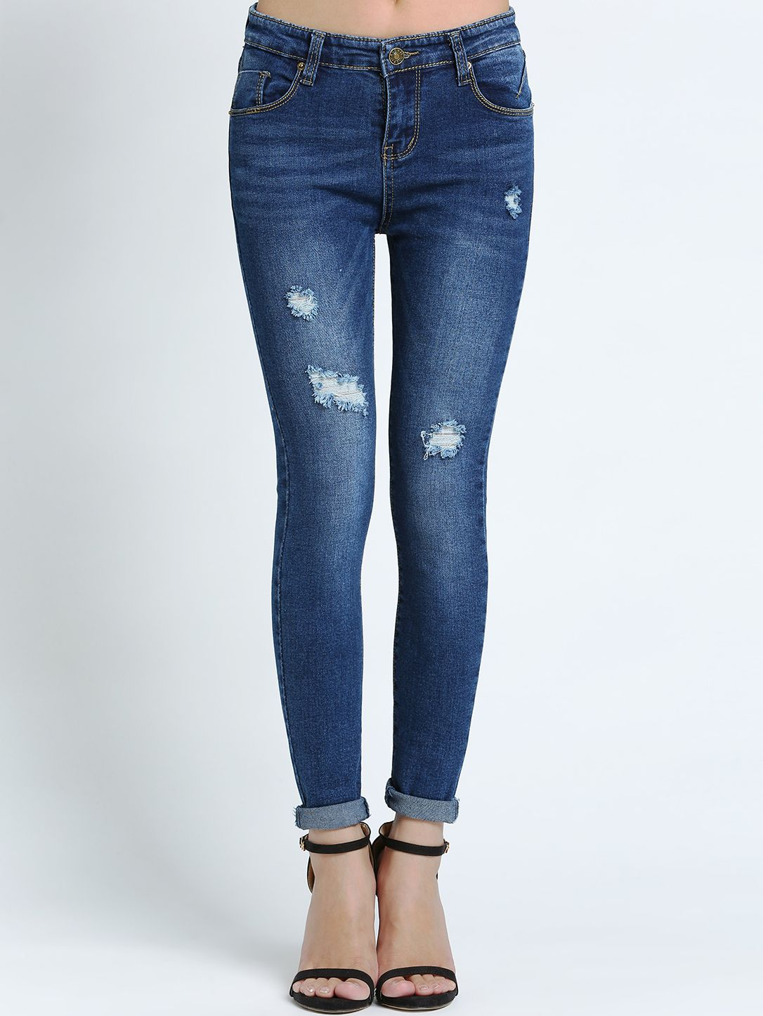 Photo of Blue Slim Bleached Ripped Denim Pant 21.29
